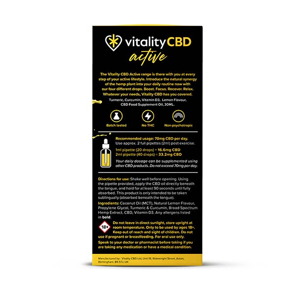 Use the Vitality Active Recover CBD Oil to ensure your body returns to a state of balance.